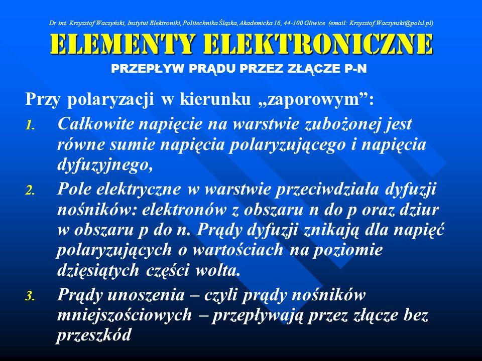 Elementy Elektroniczne PRZEPŁYW PRĄDU PRZEZ ZŁĄCZE P-N Przy polaryzacji w kierunku zaporowym: 1. 1. Całkowite napięcie na warstwie zubożonej jest równ