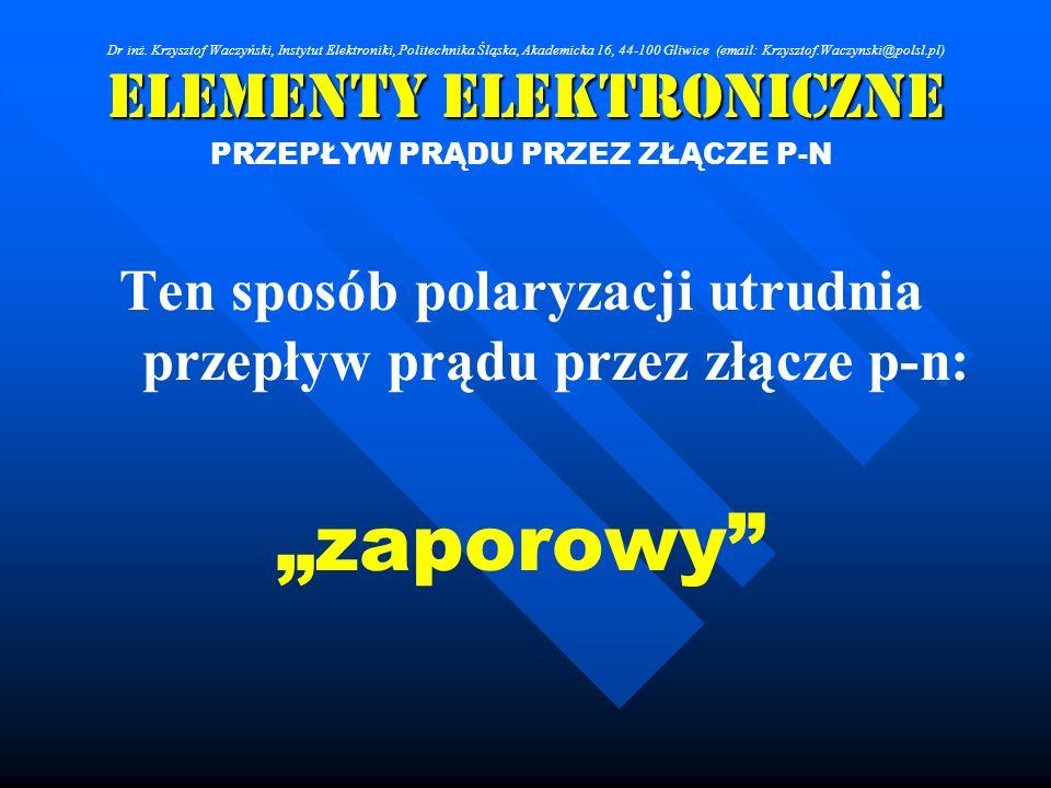 Elementy Elektroniczne PRZEPŁYW PRĄDU PRZEZ ZŁĄCZE P-N Ten sposób polaryzacji utrudnia przepływ prądu przez złącze p-n: zaporowy Dr inż. Krzysztof Wac