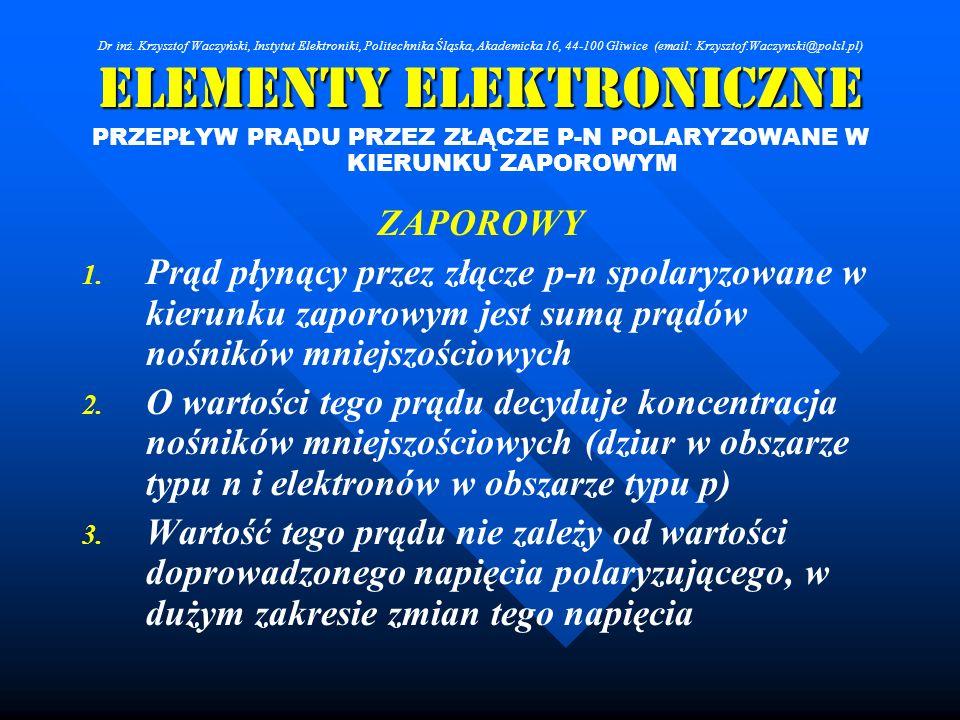 Elementy Elektroniczne PRZEPŁYW PRĄDU PRZEZ ZŁĄCZE P-N POLARYZOWANE W KIERUNKU ZAPOROWYM ZAPOROWY 1. 1. Prąd płynący przez złącze p-n spolaryzowane w