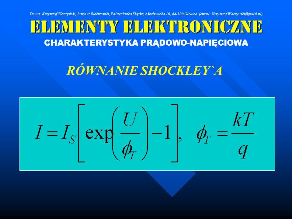 Elementy Elektroniczne CHARAKTERYSTYKA PRĄDOWO-NAPIĘCIOWA RÓWNANIE SHOCKLEY`A Dr inż. Krzysztof Waczyński, Instytut Elektroniki, Politechnika Śląska,
