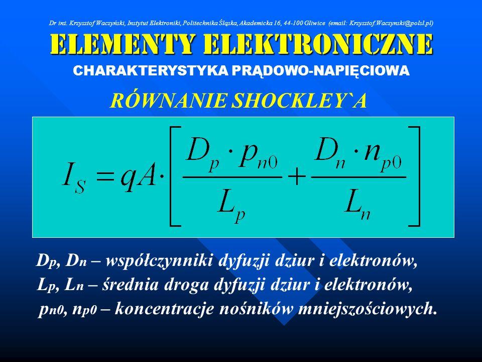 Elementy Elektroniczne CHARAKTERYSTYKA PRĄDOWO-NAPIĘCIOWA RÓWNANIE SHOCKLEY`A D p, D n – współczynniki dyfuzji dziur i elektronów, L p, L n – średnia