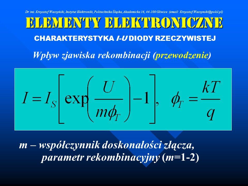 Elementy Elektroniczne CHARAKTERYSTYKA I-U DIODY RZECZYWISTEJ Wpływ zjawiska rekombinacji (przewodzenie) m – współczynnik doskonałości złącza, paramet