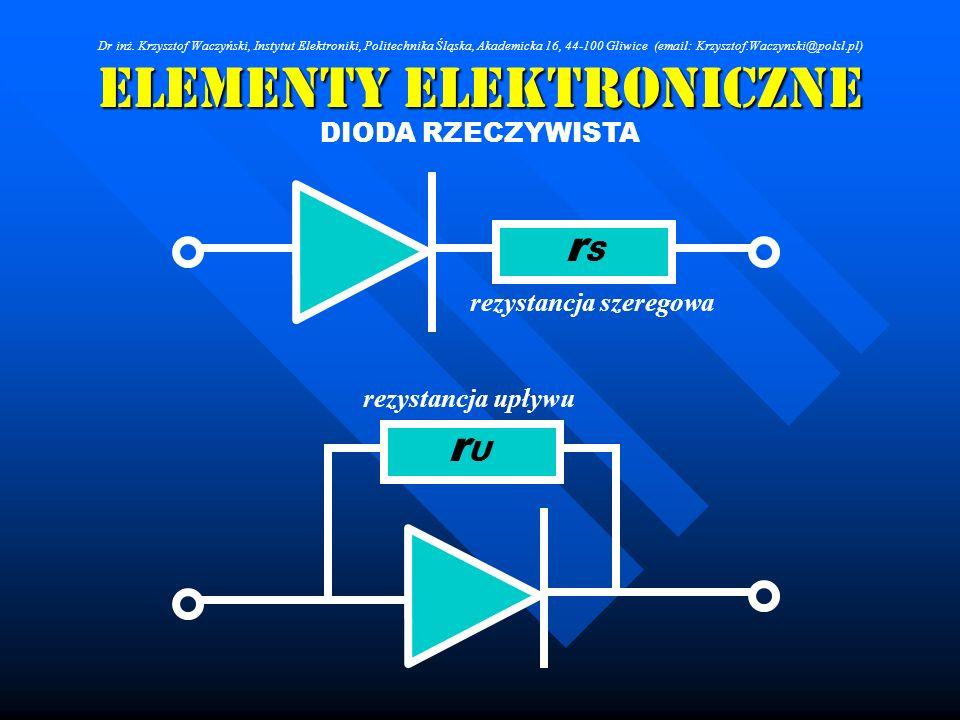 Elementy Elektroniczne rezystancja szeregowa rSrS rezystancja upływu rUrU DIODA RZECZYWISTA Dr inż. Krzysztof Waczyński, Instytut Elektroniki, Politec