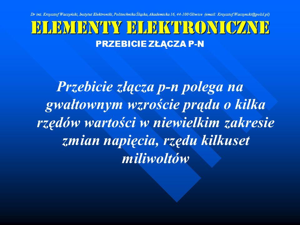Elementy Elektroniczne PRZEBICIE ZŁĄCZA P-N Przebicie złącza p-n polega na gwałtownym wzroście prądu o kilka rzędów wartości w niewielkim zakresie zmi