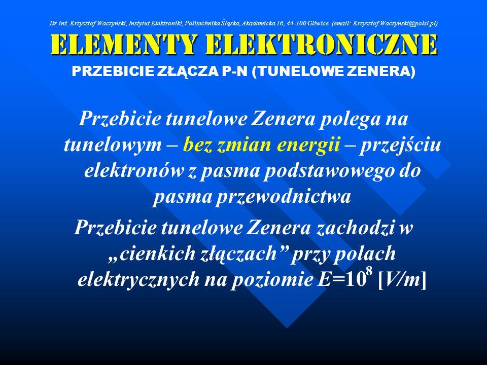 Elementy Elektroniczne PRZEBICIE ZŁĄCZA P-N (TUNELOWE ZENERA) Przebicie tunelowe Zenera polega na tunelowym – bez zmian energii – przejściu elektronów