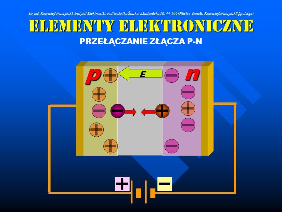Elementy Elektroniczne PRZEŁĄCZANIE ZŁĄCZA P-N npnnp E Dr inż. Krzysztof Waczyński, Instytut Elektroniki, Politechnika Śląska, Akademicka 16, 44-100 G