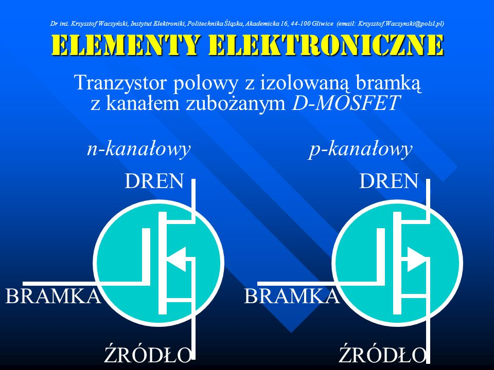 ELEMENTY ELEKTRONICZNE Tranzystor polowy z izolowaną bramką n-kanałowyp-kanałowy BRAMKA DREN ŹRÓDŁO z kanałem zubożanym D-MOSFET Dr inż. Krzysztof Wac