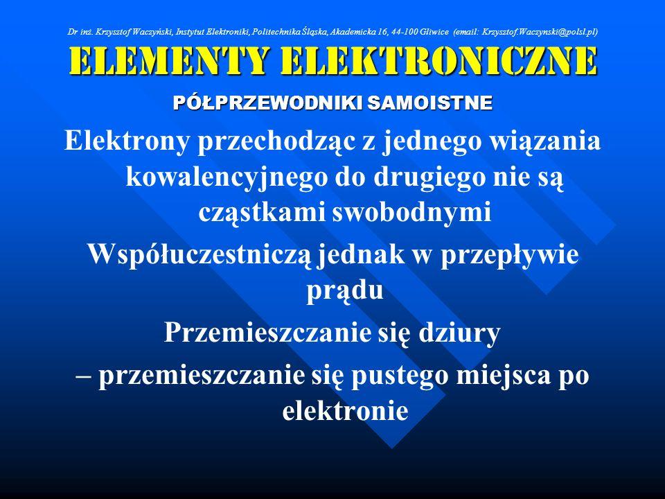 Elementy Elektroniczne PÓŁPRZEWODNIKI SAMOISTNE Elektrony przechodząc z jednego wiązania kowalencyjnego do drugiego nie są cząstkami swobodnymi Współu
