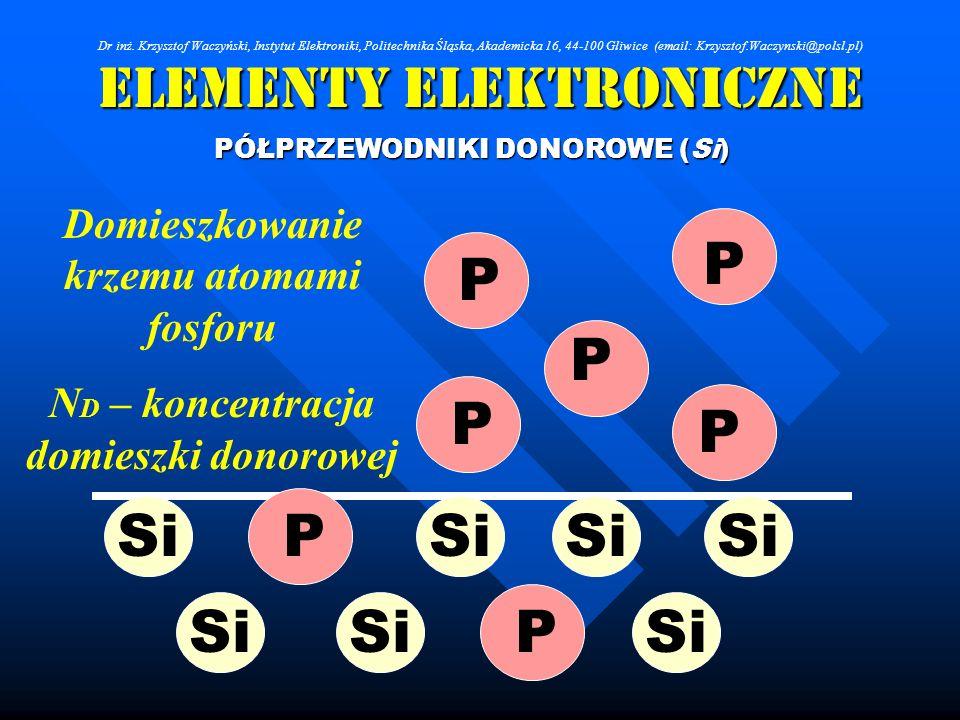 Elementy Elektroniczne PÓŁPRZEWODNIKI DONOROWE (Si) Dr inż. Krzysztof Waczyński, Instytut Elektroniki, Politechnika Śląska, Akademicka 16, 44-100 Gliw