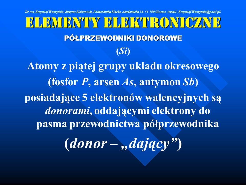 Elementy Elektroniczne PÓŁPRZEWODNIKI DONOROWE (Si) Atomy z piątej grupy układu okresowego (fosfor P, arsen As, antymon Sb) posiadające 5 elektronów w