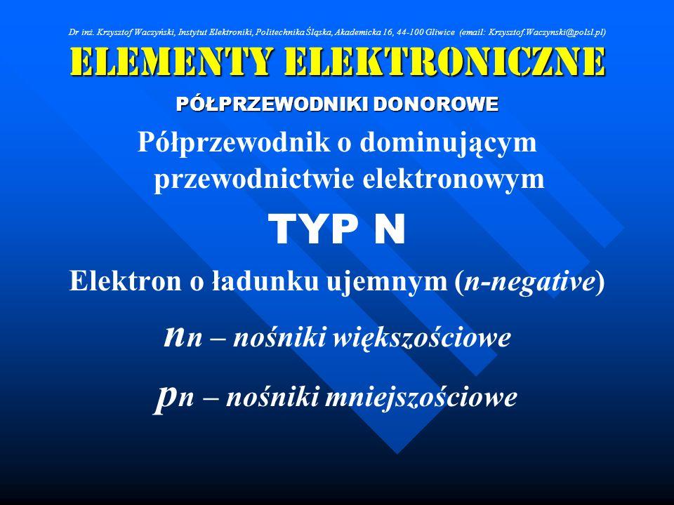 Elementy Elektroniczne PÓŁPRZEWODNIKI DONOROWE Półprzewodnik o dominującym przewodnictwie elektronowym TYP N Elektron o ładunku ujemnym (n-negative) n