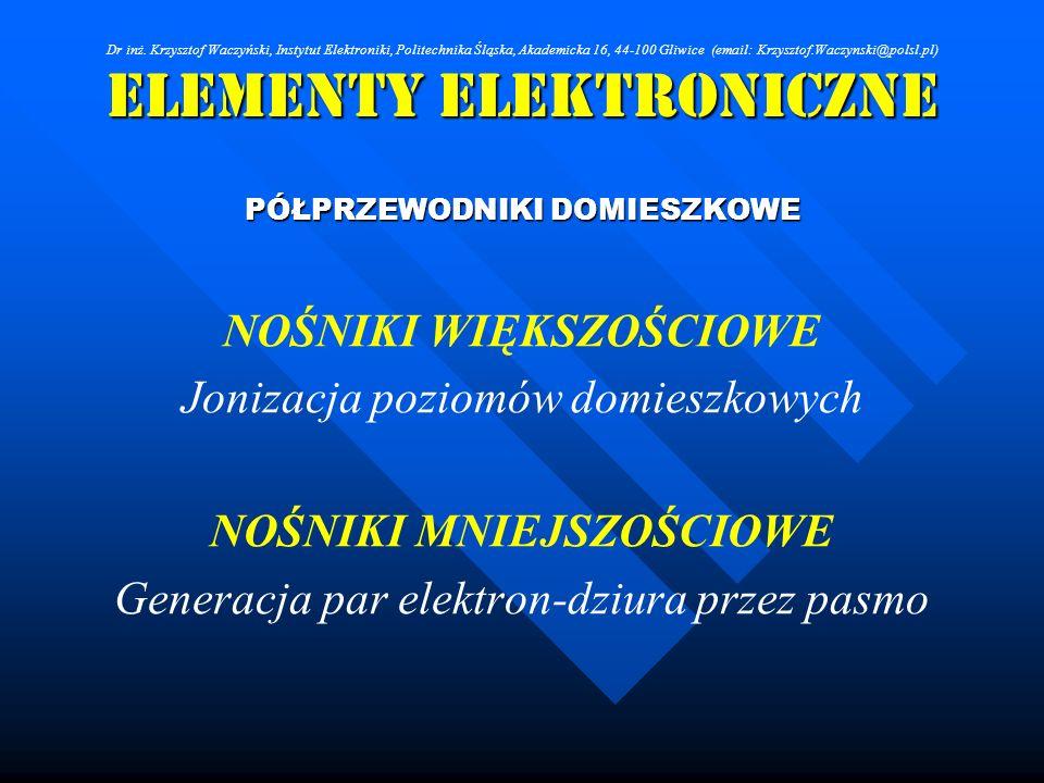 Elementy Elektroniczne PÓŁPRZEWODNIKI DOMIESZKOWE NOŚNIKI WIĘKSZOŚCIOWE Jonizacja poziomów domieszkowych NOŚNIKI MNIEJSZOŚCIOWE Generacja par elektron