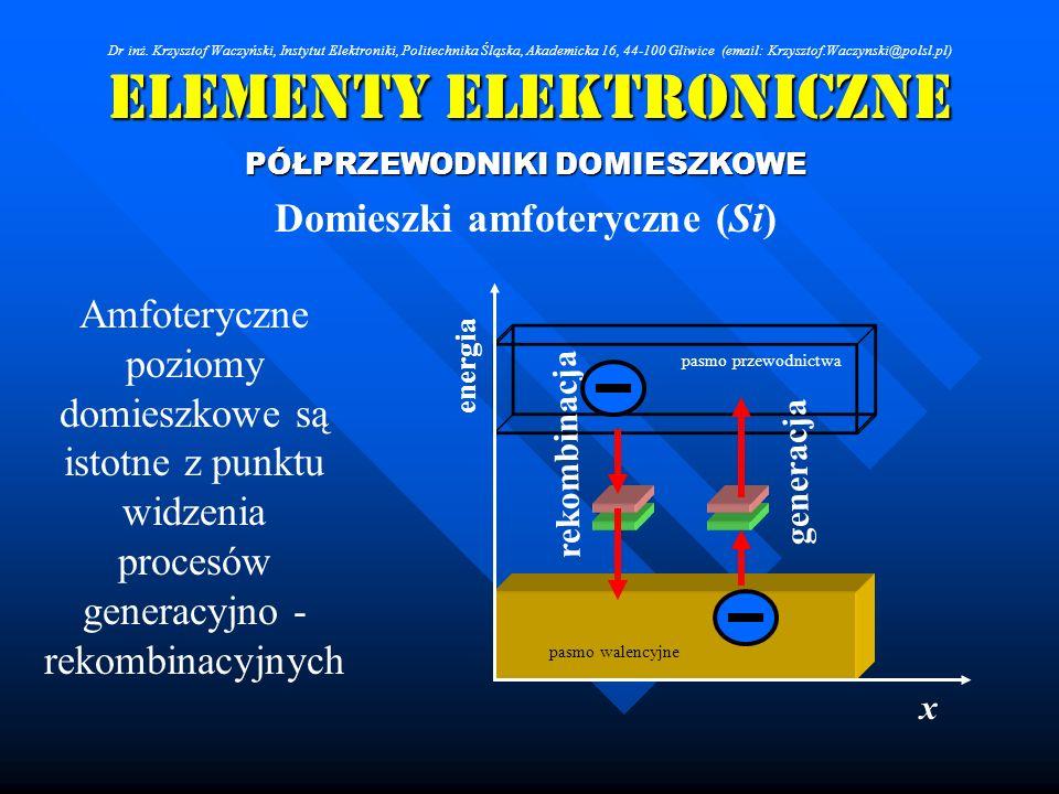 Elementy Elektroniczne PÓŁPRZEWODNIKI DOMIESZKOWE Domieszki amfoteryczne (Si) Amfoteryczne poziomy domieszkowe są istotne z punktu widzenia procesów g