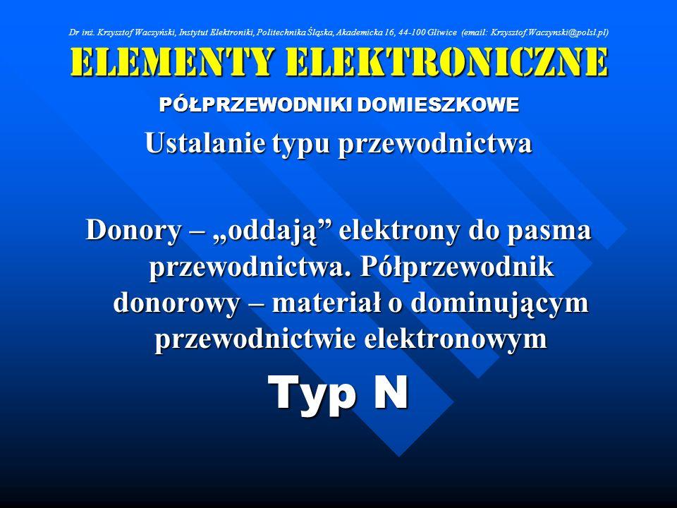 Elementy Elektroniczne PÓŁPRZEWODNIKI DOMIESZKOWE Ustalanie typu przewodnictwa Donory – oddają elektrony do pasma przewodnictwa. Półprzewodnik donorow