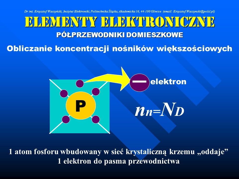 Elementy Elektroniczne PÓŁPRZEWODNIKI DOMIESZKOWE Obliczanie koncentracji nośników większościowych P 1 atom fosforu wbudowany w sieć krystaliczną krze