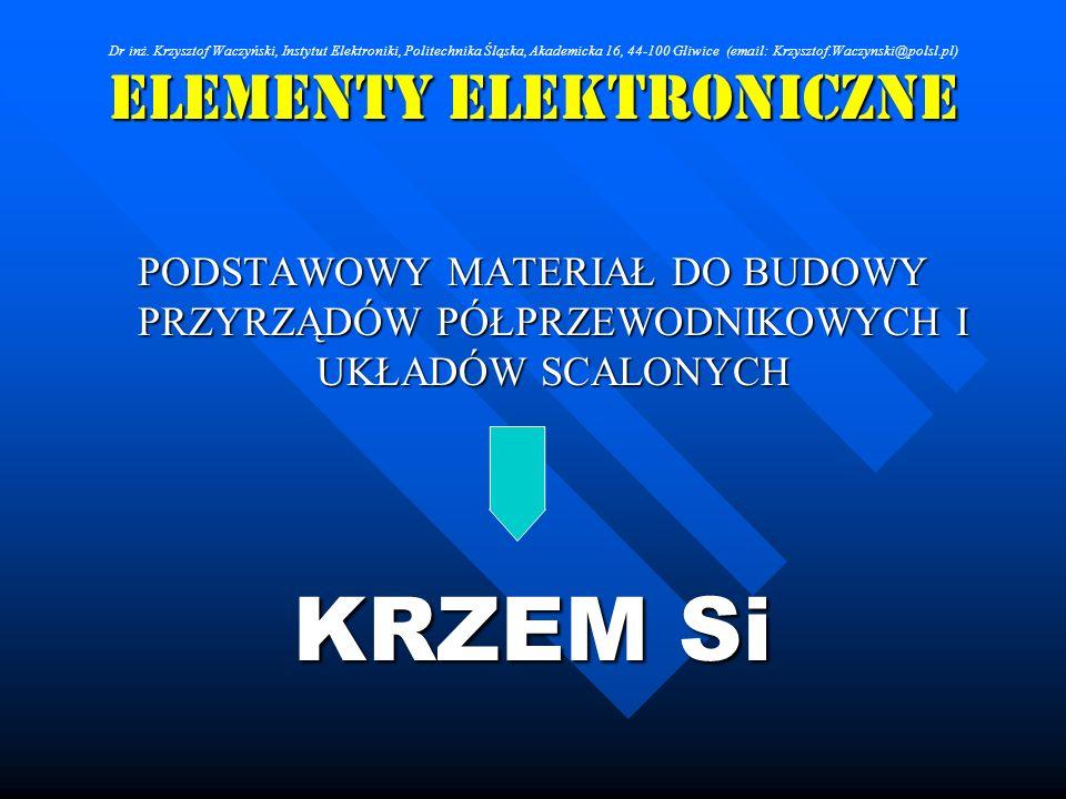 ELEMENTY ELEKTRONICZNE PODSTAWOWY MATERIAŁ DO BUDOWY PRZYRZĄDÓW PÓŁPRZEWODNIKOWYCH I UKŁADÓW SCALONYCH KRZEM Si Dr inż. Krzysztof Waczyński, Instytut