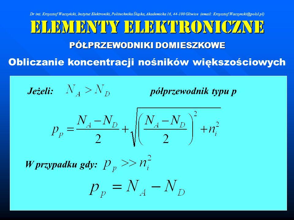 Elementy Elektroniczne PÓŁPRZEWODNIKI DOMIESZKOWE Obliczanie koncentracji nośników większościowych Jeżeli: W przypadku gdy: półprzewodnik typu p Dr in
