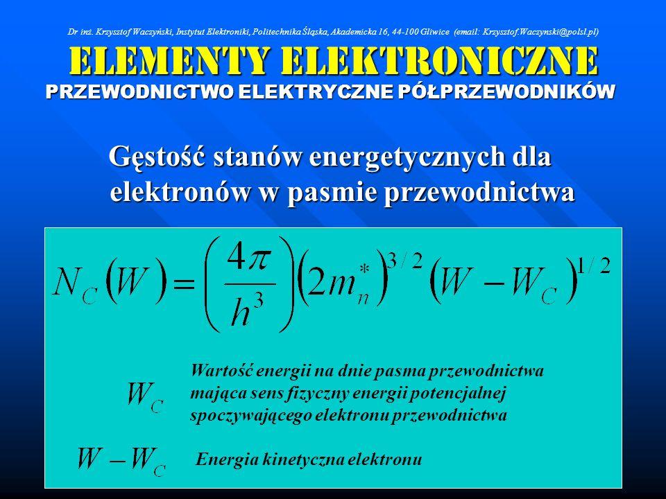 Elementy Elektroniczne PRZEWODNICTWO ELEKTRYCZNE PÓŁPRZEWODNIKÓW Gęstość stanów energetycznych dla elektronów w pasmie przewodnictwa Wartość energii n