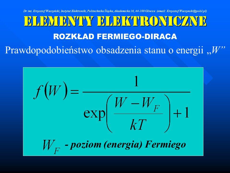 Elementy Elektroniczne ROZKŁAD FERMIEGO-DIRACA Prawdopodobieństwo obsadzenia stanu o energii W - poziom (energia) Fermiego Dr inż. Krzysztof Waczyński