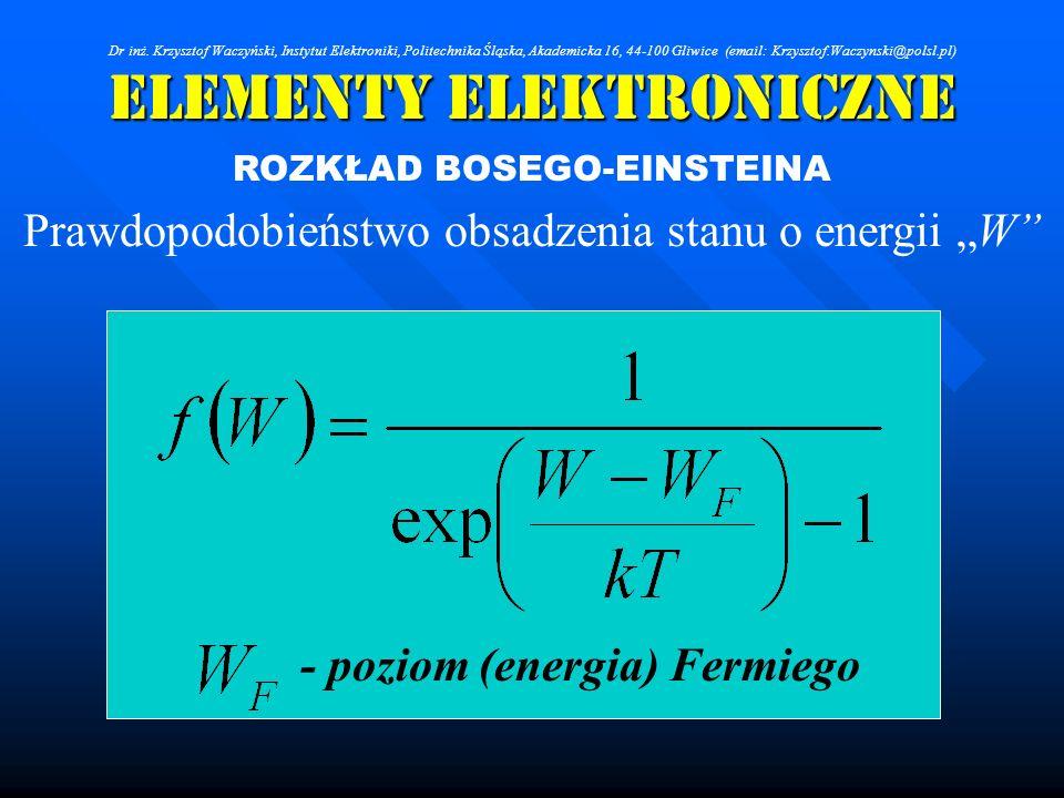 Elementy Elektroniczne ROZKŁAD BOSEGO-EINSTEINA Prawdopodobieństwo obsadzenia stanu o energii W - poziom (energia) Fermiego Dr inż. Krzysztof Waczyńsk