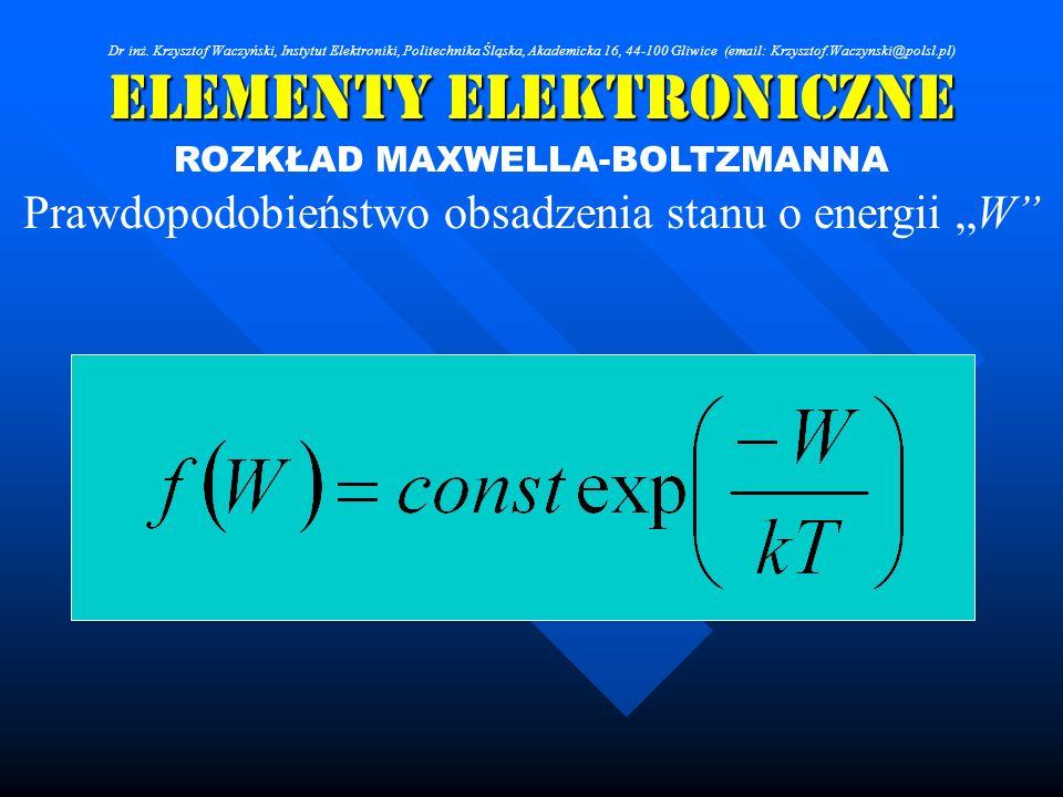 Elementy Elektroniczne ROZKŁAD MAXWELLA-BOLTZMANNA Prawdopodobieństwo obsadzenia stanu o energii W Dr inż. Krzysztof Waczyński, Instytut Elektroniki,