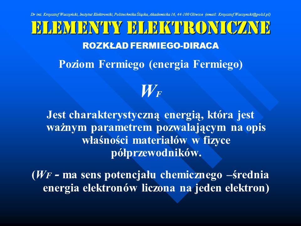 Elementy Elektroniczne ROZKŁAD FERMIEGO-DIRACA Poziom Fermiego (energia Fermiego) W F Jest charakterystyczną energią, która jest ważnym parametrem poz