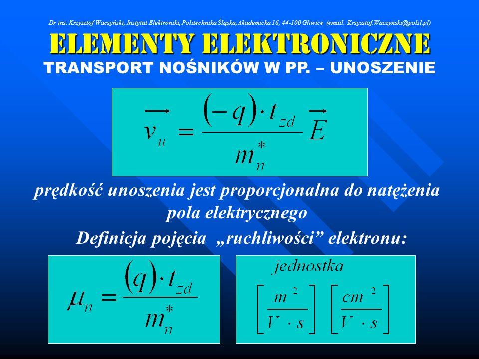 Elementy Elektroniczne TRANSPORT NOŚNIKÓW W PP. – UNOSZENIE prędkość unoszenia jest proporcjonalna do natężenia pola elektrycznego Definicja pojęcia r