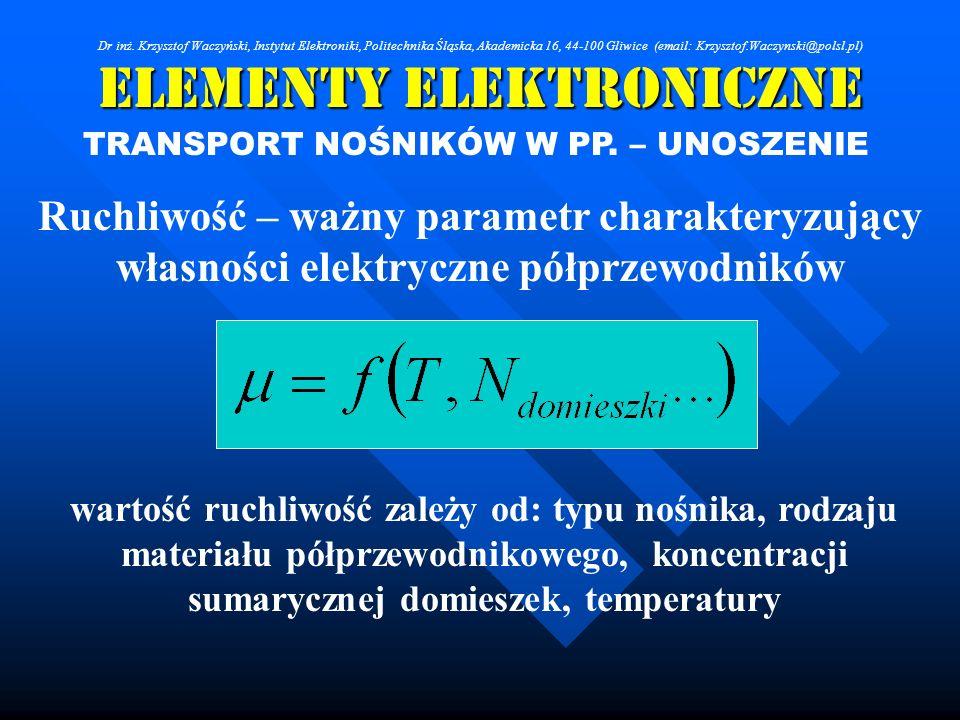 Elementy Elektroniczne TRANSPORT NOŚNIKÓW W PP. – UNOSZENIE Ruchliwość – ważny parametr charakteryzujący własności elektryczne półprzewodników wartość
