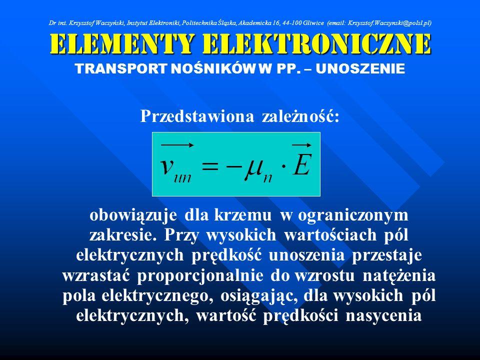 Elementy Elektroniczne TRANSPORT NOŚNIKÓW W PP. – UNOSZENIE Przedstawiona zależność: obowiązuje dla krzemu w ograniczonym zakresie. Przy wysokich wart