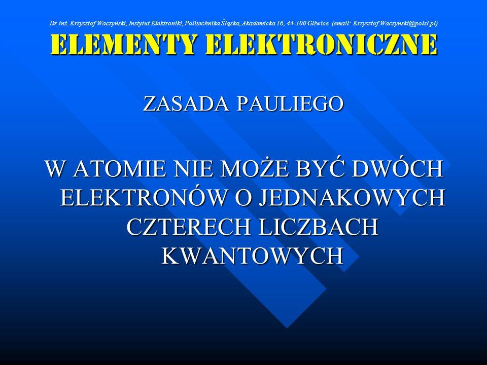 Elementy Elektroniczne ZASADA PAULIEGO W ATOMIE NIE MOŻE BYĆ DWÓCH ELEKTRONÓW O JEDNAKOWYCH CZTERECH LICZBACH KWANTOWYCH Dr inż. Krzysztof Waczyński,