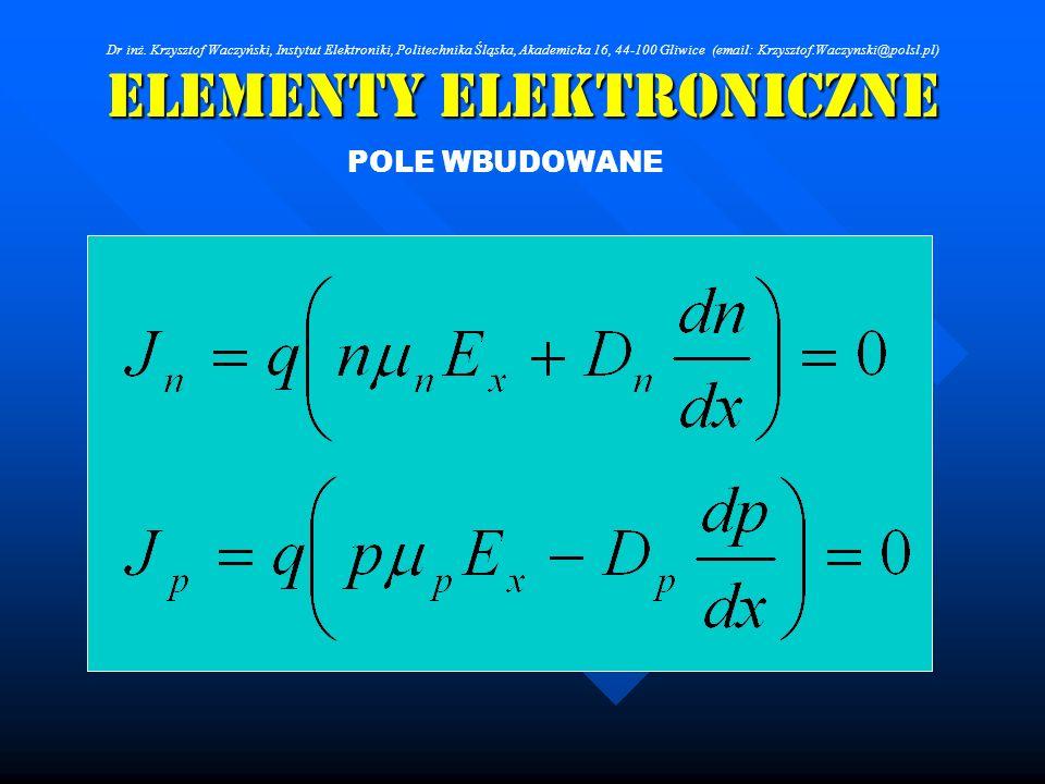 Elementy Elektroniczne POLE WBUDOWANE Dr inż. Krzysztof Waczyński, Instytut Elektroniki, Politechnika Śląska, Akademicka 16, 44-100 Gliwice (email: Kr