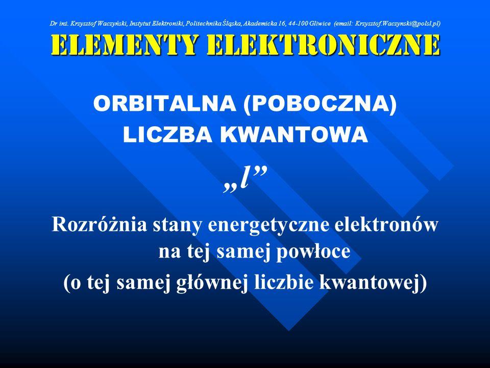 Elementy Elektroniczne ORBITALNA (POBOCZNA) LICZBA KWANTOWA l Rozróżnia stany energetyczne elektronów na tej samej powłoce (o tej samej głównej liczbi