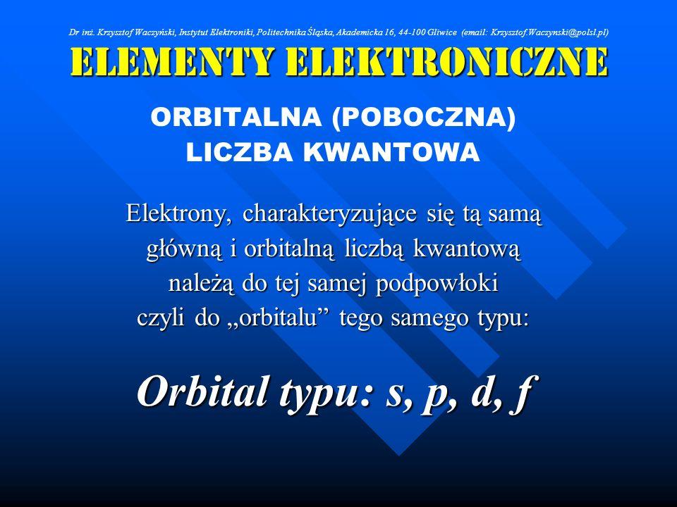 Elementy Elektroniczne ORBITALNA (POBOCZNA) LICZBA KWANTOWA Elektrony, charakteryzujące się tą samą główną i orbitalną liczbą kwantową należą do tej s
