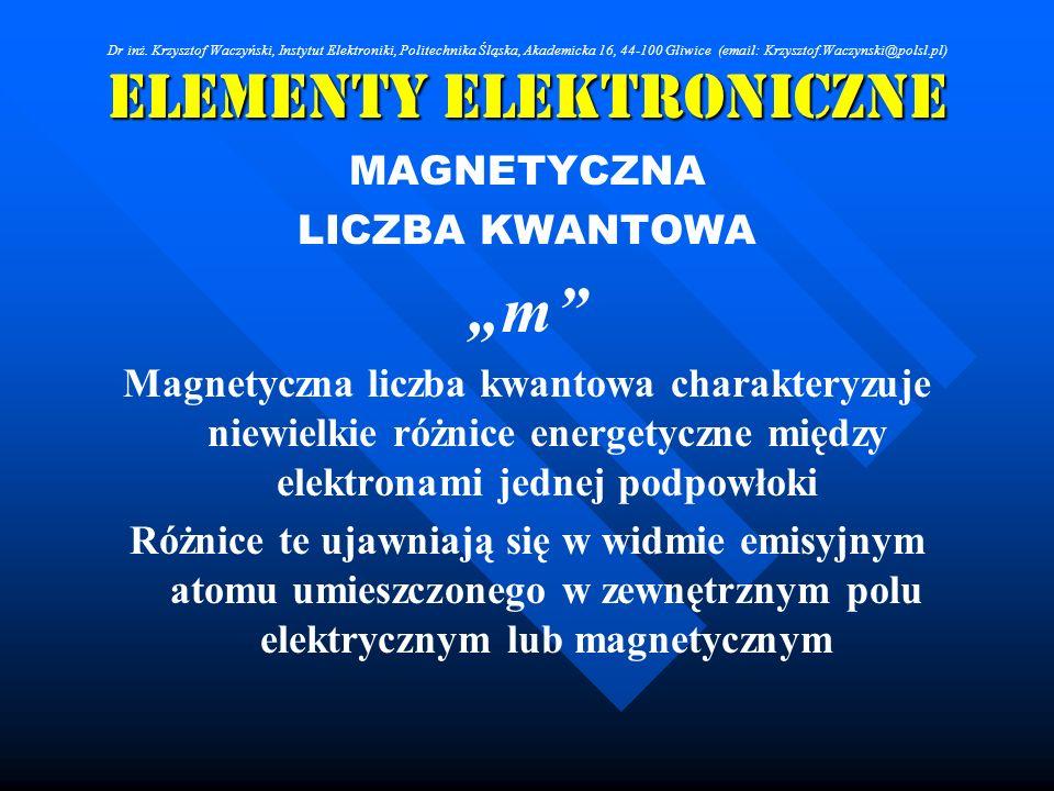 Elementy Elektroniczne MAGNETYCZNA LICZBA KWANTOWA m Magnetyczna liczba kwantowa charakteryzuje niewielkie różnice energetyczne między elektronami jed