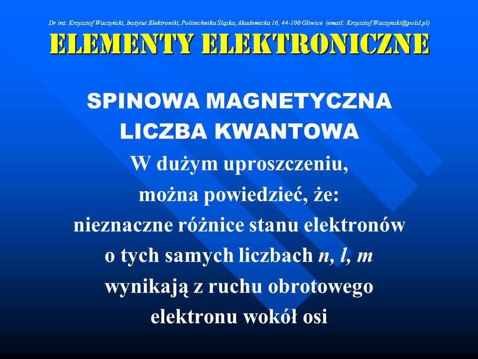 Elementy Elektroniczne SPINOWA MAGNETYCZNA LICZBA KWANTOWA W dużym uproszczeniu, można powiedzieć, że: nieznaczne różnice stanu elektronów o tych samy