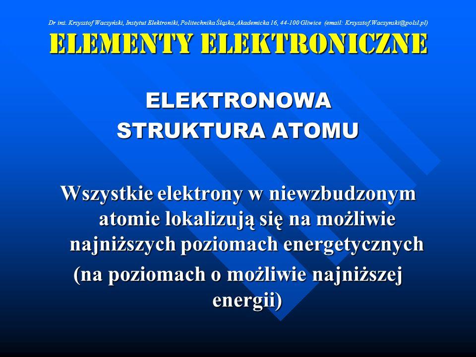 Elementy Elektroniczne ELEKTRONOWA STRUKTURA ATOMU Wszystkie elektrony w niewzbudzonym atomie lokalizują się na możliwie najniższych poziomach energet