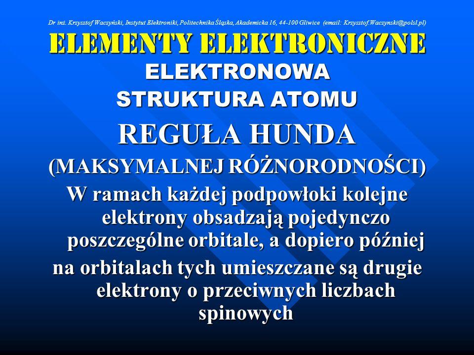 Elementy Elektroniczne ELEKTRONOWA STRUKTURA ATOMU REGUŁA HUNDA (MAKSYMALNEJ RÓŻNORODNOŚCI) W ramach każdej podpowłoki kolejne elektrony obsadzają poj