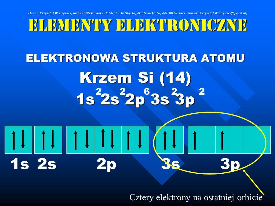 Elementy Elektroniczne ELEKTRONOWA STRUKTURA ATOMU Krzem Si (14) 1s 2s 2p 3s 3p 262 Cztery elektrony na ostatniej orbicie 22 1s2s2p3s3p Dr inż. Krzysz