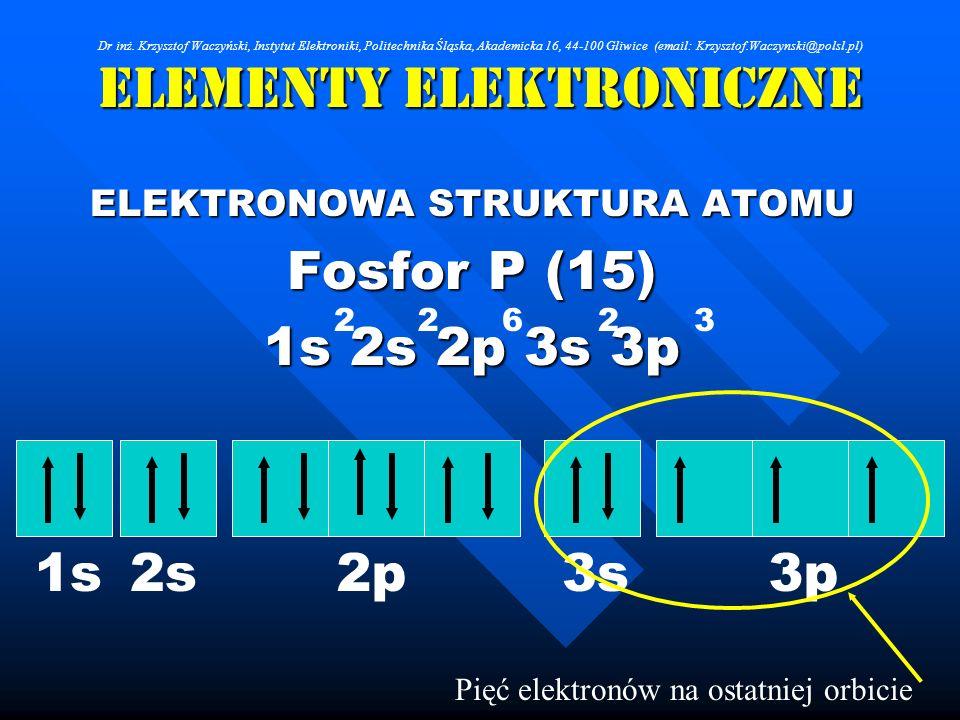 Elementy Elektroniczne ELEKTRONOWA STRUKTURA ATOMU Fosfor P (15) 1s 2s 2p 3s 3p 262 Pięć elektronów na ostatniej orbicie 23 1s2s2p3s3p Dr inż. Krzyszt