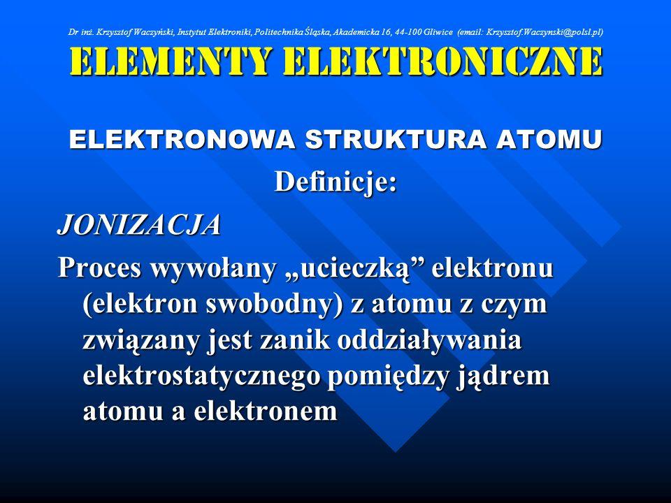 Elementy Elektroniczne ELEKTRONOWA STRUKTURA ATOMU Definicje:JONIZACJA Proces wywołany ucieczką elektronu (elektron swobodny) z atomu z czym związany