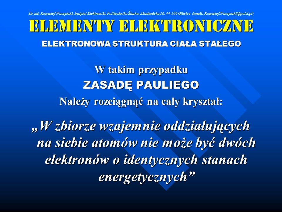 Elementy Elektroniczne ELEKTRONOWA STRUKTURA CIAŁA STAŁEGO W takim przypadku ZASADĘ PAULIEGO Należy rozciągnąć na cały kryształ: W zbiorze wzajemnie o