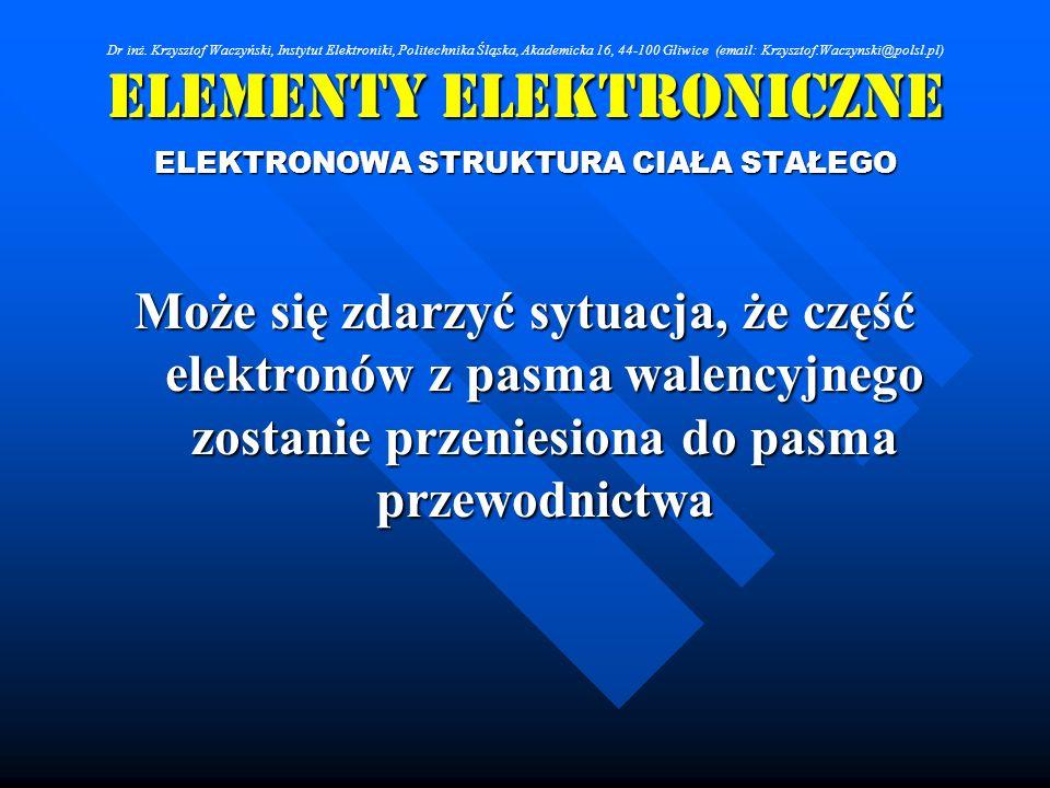 Elementy Elektroniczne ELEKTRONOWA STRUKTURA CIAŁA STAŁEGO Może się zdarzyć sytuacja, że część elektronów z pasma walencyjnego zostanie przeniesiona d