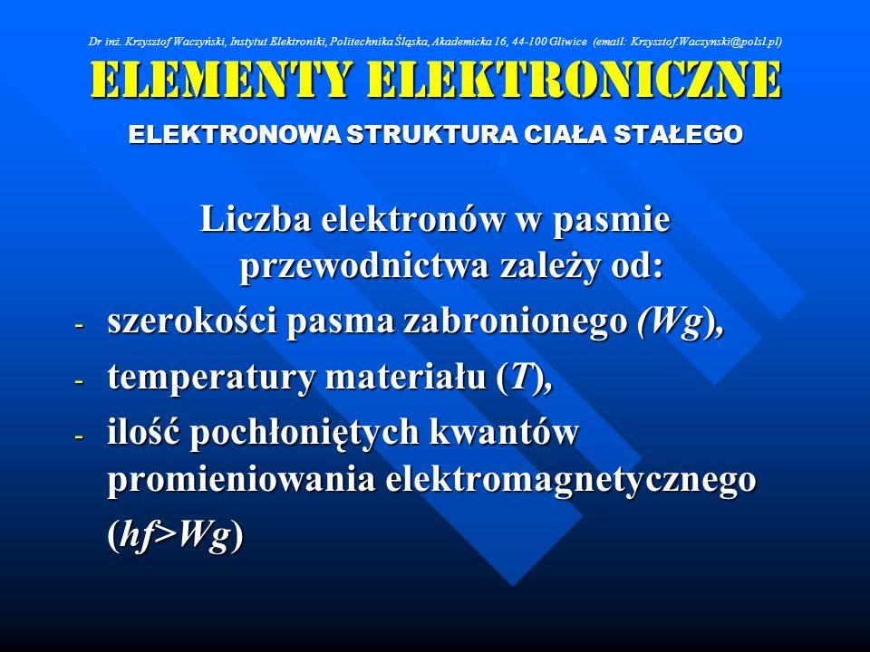 Elementy Elektroniczne ELEKTRONOWA STRUKTURA CIAŁA STAŁEGO Liczba elektronów w pasmie przewodnictwa zależy od: - szerokości pasma zabronionego (Wg), -
