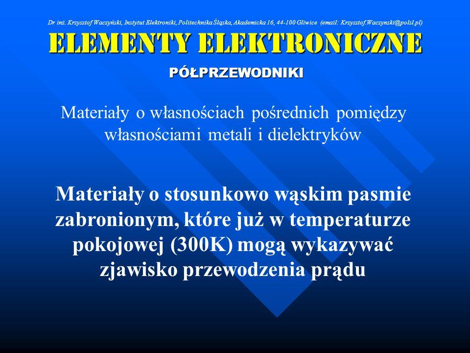 Elementy Elektroniczne PÓŁPRZEWODNIKI Materiały o własnościach pośrednich pomiędzy własnościami metali i dielektryków Materiały o stosunkowo wąskim pa