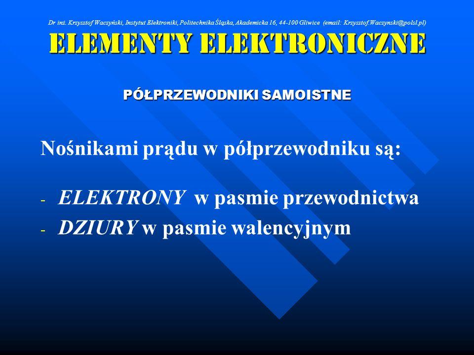 Elementy Elektroniczne PÓŁPRZEWODNIKI SAMOISTNE Nośnikami prądu w półprzewodniku są: - - ELEKTRONY w pasmie przewodnictwa - - DZIURY w pasmie walencyj