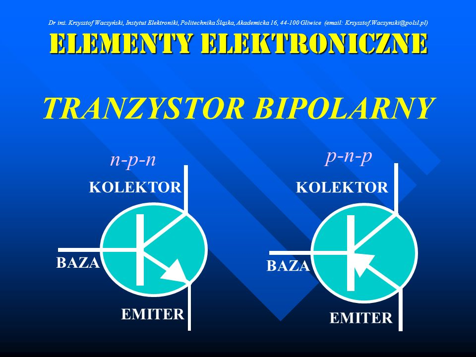 Elementy Elektroniczne TRANZYSTOR BIPOLARNY n-p-n BAZA KOLEKTOR EMITER p-n-p BAZA KOLEKTOR EMITER Dr inż. Krzysztof Waczyński, Instytut Elektroniki, P