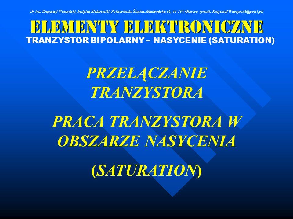 Elementy Elektroniczne Dr inż. Krzysztof Waczyński, Instytut Elektroniki, Politechnika Śląska, Akademicka 16, 44-100 Gliwice (email: Krzysztof.Waczyns