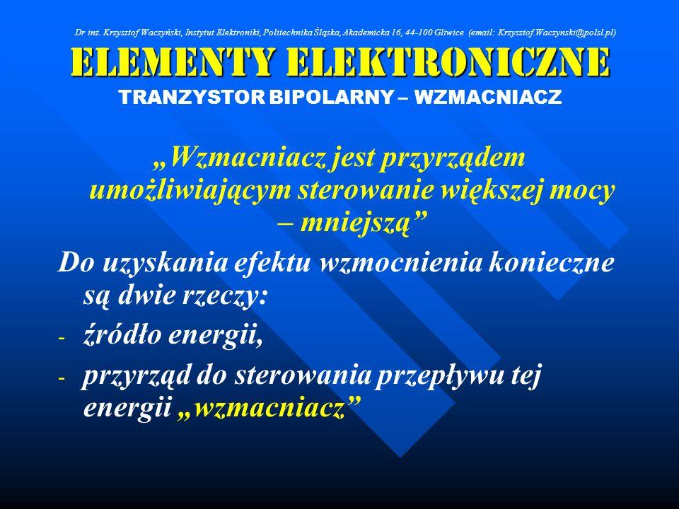 Elementy Elektroniczne TRANZYSTOR BIPOLARNY – WZMACNIACZ Wzmacniacz jest przyrządem umożliwiającym sterowanie większej mocy – mniejszą Do uzyskania ef