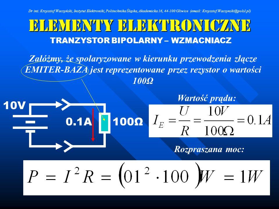 Elementy Elektroniczne TRANZYSTOR BIPOLARNY – WZMACNIACZ Załóżmy, że spolaryzowane w kierunku przewodzenia złącze EMITER-BAZA jest reprezentowane prze