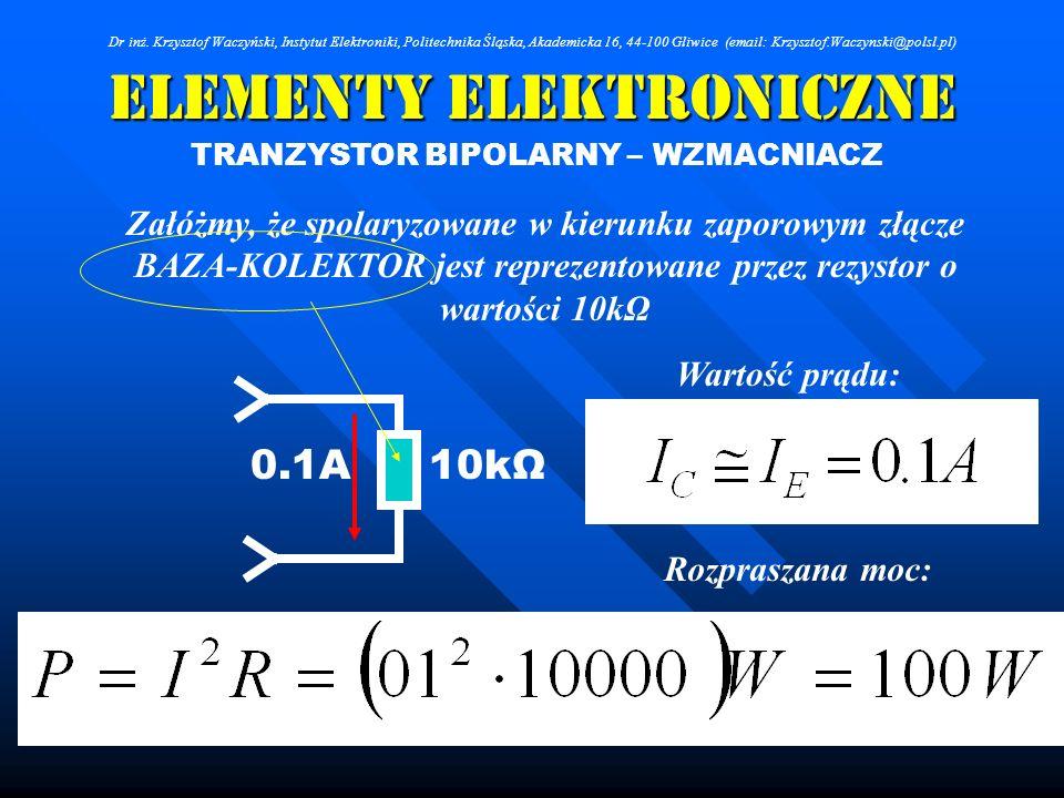 Elementy Elektroniczne TRANZYSTOR BIPOLARNY – WZMACNIACZ Załóżmy, że spolaryzowane w kierunku zaporowym złącze BAZA-KOLEKTOR jest reprezentowane przez